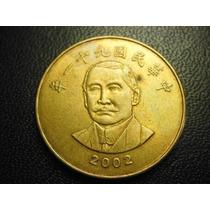 Taiwan Moneda 50 Yuan Fecha 2001 Bronce