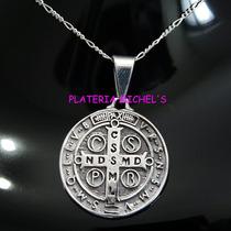 Medalla De San Benito Grande En Plata Ley 0.925 Vv4