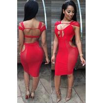 Moda Sexy Mini Vestido Rojo Transparencias Table Dance