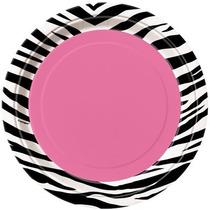 48 Platos Zebra 7 Pulgadas Desechables De Carton