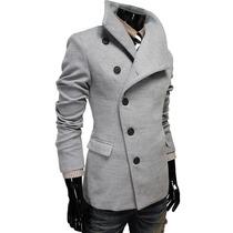 Abrigo Hombre Slim Fit Cuello Grande Moda Japonesa Elegante