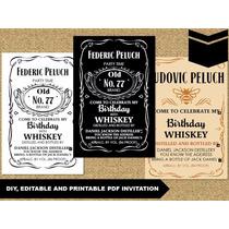 Invitación Jack Daniels Editable En Pdf Incluye Toppers