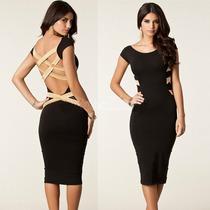 Sexy Mini Vestido Negro Con Tiras Cruzadas En La Espalda