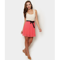 Vestido Corto Sin Mangas, Coral / Hueso, Talla M Y G, $300