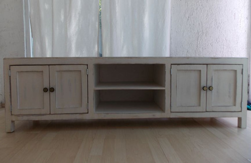 Mueble De Tv Estilo Vintage Color Blanco Antiguo Decapado - $ 4,200.00 en Mer...