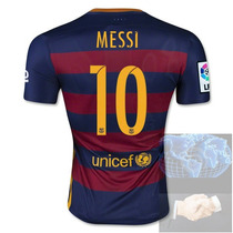Jersey #10 Messi Barcelona Roja Azul Nike 2016 Local Player