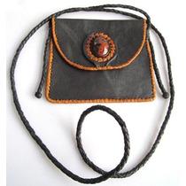 Bolsa De Piel D Cabra Teñido En Negro, Piedra Obsidiana Roja