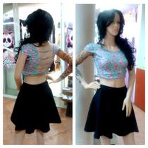 Cross Top Blusa Corta Flores Moda Verano Falda Circular Tubo