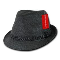Sombrero Fedora Negro Tipo Paja Decky 557 Importado