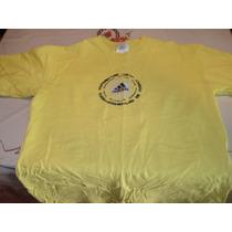 Playera Amarilla Marca Adidas Talla G Estampado Vulcanizado