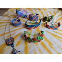 Lote 7 Pulseras 1 Collar Buho Macramé Varios Modelos Colores