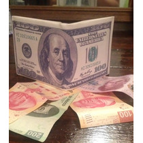 Cartera Novedosa Dólar Y Euro, Billete Dinero Y Suerte.