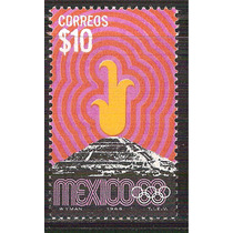 1968 México 68 $10 Pirámide Teotihuacan Y Antorcha Olímpica
