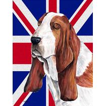 Basset Hound Con Inglés Union Jack Británica Bandera De La