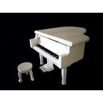 Caja Musical Blanco Negro Piano Miniatura Replica Con Banco