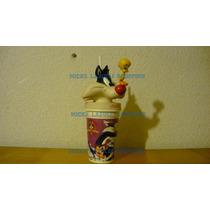 Silvestre Looney Tunes Vaso Plástico Con Tapa Sonrics 1999