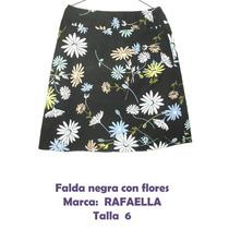 Falda Negra Con Flores Para Dama