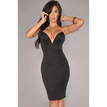 Vestido Escote Profundo , Color Negro -envio Gratis Estafeta