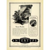 Lienzo Tela Publicidad Imprenta Intertype 1925 70 X 50 Cm