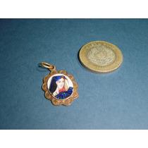 Antigua Medalla Pintada A Mano Y Esmaltada De Virgen María