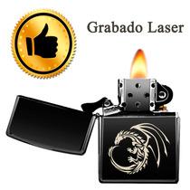 Encendedor Tipo Zipp Negro Mate Con Personalizado Recargable