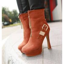 Zapatillas Moda Sexy Botines # 22 De Gamuza Miel Tacon 13cm