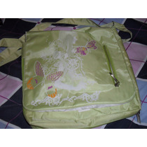 Bonita Mochila Messenger Verde Estampado De Muñeca Mariposas