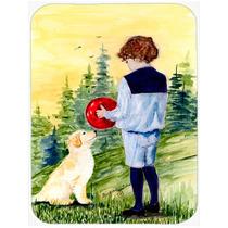Little Boy Con Su Tarjeta De Corte De Golden Retriever Gran