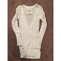Sweater Crema Hollister Mujer Talla M O L, Largo Como Abrigo