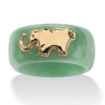 Anillo Jade Verde Redondo C/elefante Oro Amarillo 10k Tam. 6