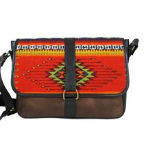 Bolsa De Piel Bitsa Con Textiles Artesanales De Oaxaca