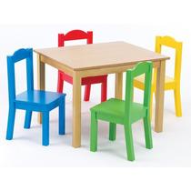 Mesa Para Niños Tot Madera 4 Sillas