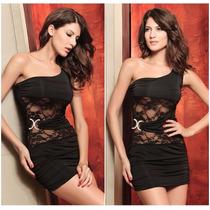 Sexy Mini Vestido Asimetrico Negro Un Solo Tirante Encaje