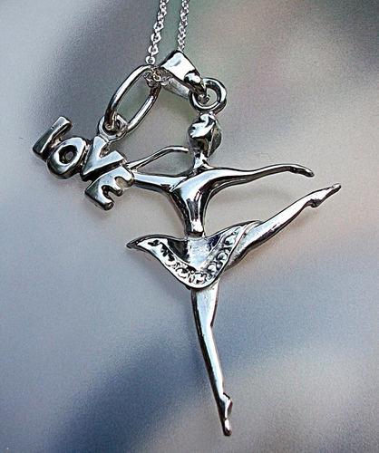 fd17a1a39a15 Cadena + Love + Dije De Bailarina Ballet Danza Plata Ley