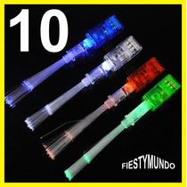 10 Anillos Con Luz Led Y Fibra Optica Luminoso Para Fiesta