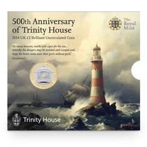 Moneda Bimetalica Inglaterra 2 Pounds Faro Trinity (2014)