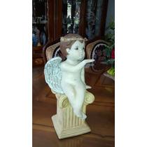 Angel De Ceramica Pintado A Mano En Tonos Viejos