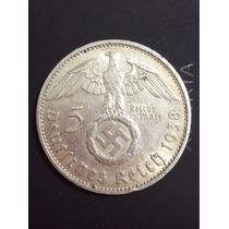 Moneda Plata Alemania Nazi 5 Marks 1938 Silver Coin