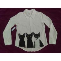 Blusa Estampado Gatos. Poliéster.