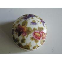 Caja De Porcelana Forma Circular Floral