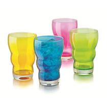 Juego De 4 Vasos De Vidrio De Colores Crisa Ccoenvios
