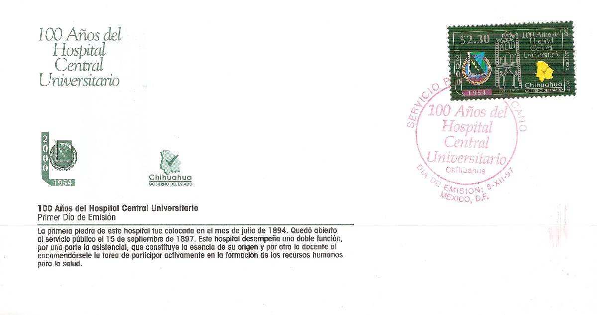 Hospital Central Chihuahua 1997 Fdc Hospital Central