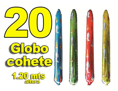 20 Globo Inflable Cohete 1.20 Mts Fiestas Eventos Animación