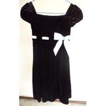 Vestido Negro Con Listón Y Moño Blanco Talla 6x Niña Vn134