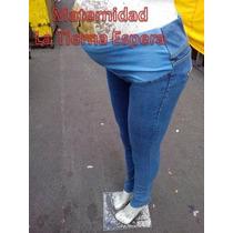 Pantalon De Maternidad De Mezclilla Entubado