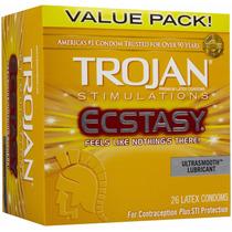 12 (doce) Condones Trojan Ecstasy Texturizados Preservativos