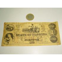 Vintage Copia Fiel De Billete De Un Dolar Florida 1863