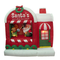 Inflable Iluminable De Navidad Santa Claus Y Su Fábrica