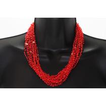 Collar De Piedra Tela Rojo Jaspe Ccpn164