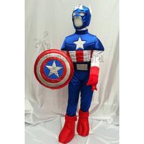Disfraz Tipo Capitan America Con Escudo Y Mascara